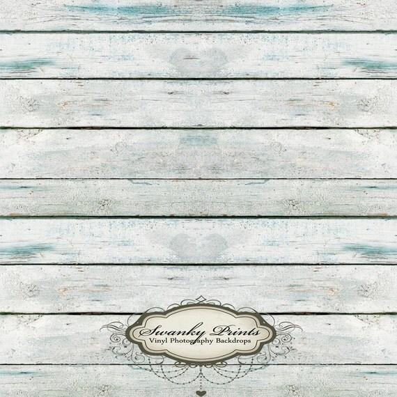 4ft x4ft Vinyl Backdrop WOOD FLOORDROP Blue White Washed Wood