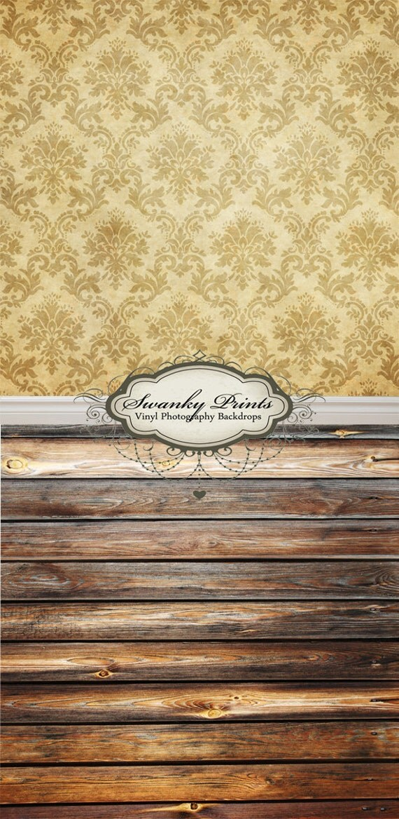 """ALL In ONE 48"""" x 99"""" (backdrop, floordrop & baseboard) Tan Damask and Two Tone Wood"""