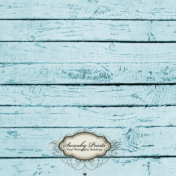 NEW ITEM 4ft x 4ft Vinyl Photography Backdrop  / Light Painted Peeling Blue Wood