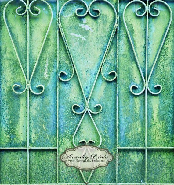 NEW  4' x 4' Vinyl Photography Backdrop / Green Blue GRUNGE GATE / Great for Children and Babies