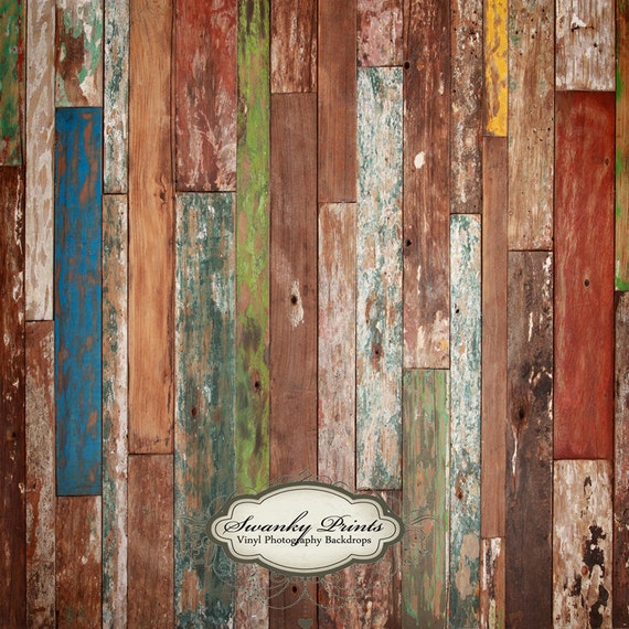 CHEAPEST PRICES 5ft x 5ft Vinyl Photography Backdrop / Colorful Scuffed Wood