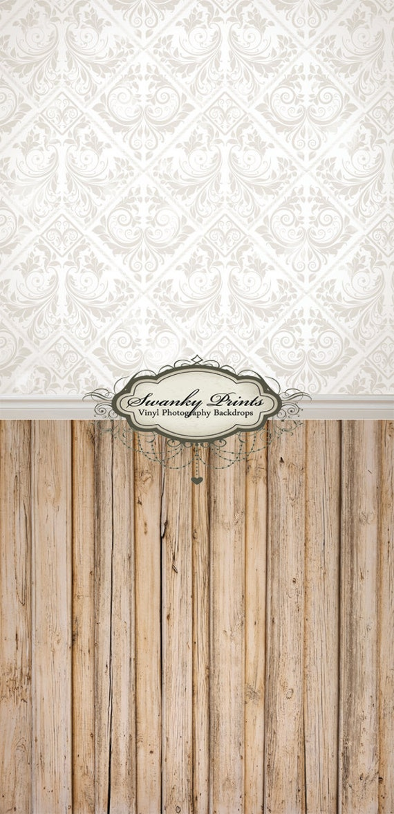 """ALL In ONE 72"""" x  159""""(backdrop, floordrop & baseboard) Vintage Damask and Light Wood"""