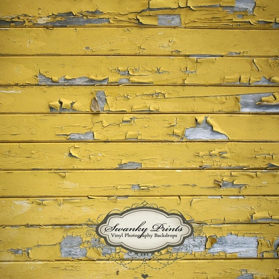 3.5ft x 3.5ft VINYL Photography Backdrop  / Yellow Peeling Wood
