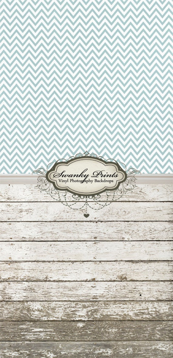 """ALL In ONE 48"""" x  99""""(backdrop, floordrop & baseboard) Blue Gray Chevron and Barn Wood"""