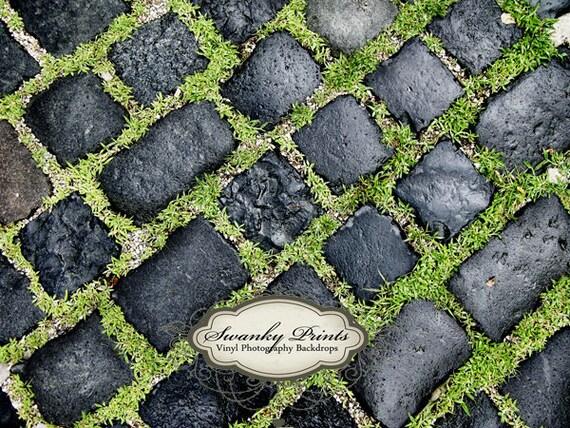 NEW ITEM 4ft x 3ft Vinyl Photography Backdrop / Black Grass Rock Floordrop