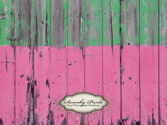 NEW ITEM 4ft x 3ft Vinyl Photography Backdrop / Half and Half Pink Green Wood
