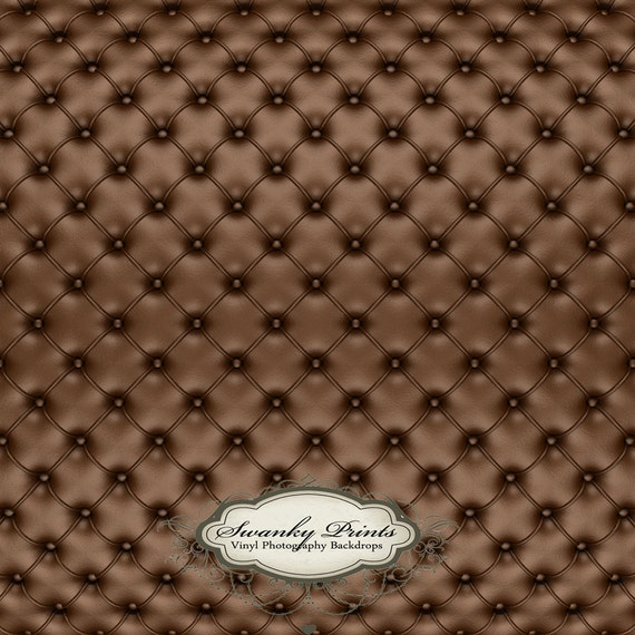 LARGE 6ft x 6ft Vinyl Photography Backdrop Chocolate Brown Tufted Leather Cushion Couch Pined Button