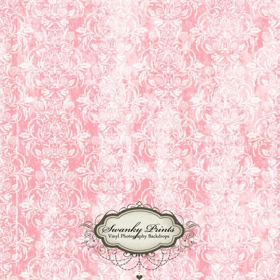 2ft x 2ft Vinyl Backdrop Photograpy / Grungy Pink Damask /Prop PRODUCT Backdrop