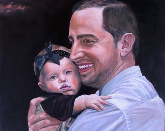 CUSTOM PORTRAIT - Custom Painting - Father and Daughter - 11x14