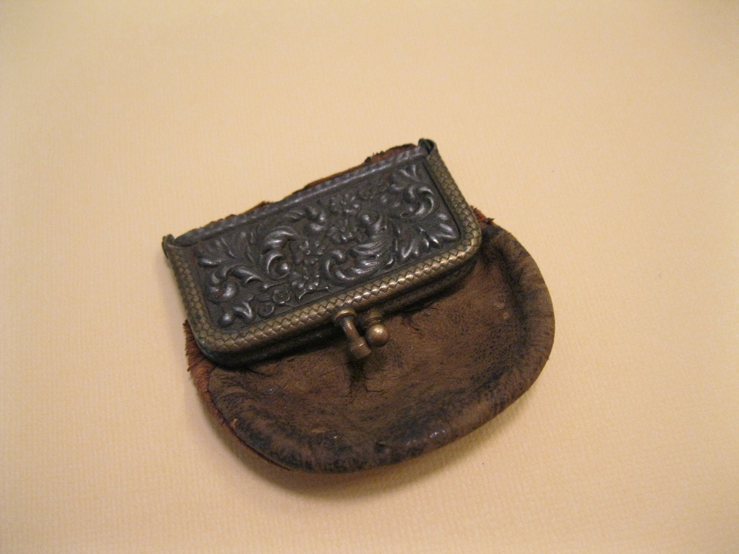 Antique Leather Coin Pouch Ring Closure