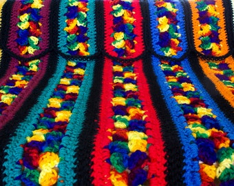 Crochet Afghan Blanket Throw Blue Red Purple Orange Yellow Colorful 'FIESTA'