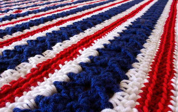 SALE-Crochet Afghan Throw Blanket Red White Blue Fourth Of July Freedom Independence Day 'Patriotic'