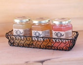 Pure Raw Honey Tea, Gift set of 3 with wire gift basket. Choose your favorite flavors. 8 oz.