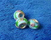 Blue Flower Pandora Style Glass Bead