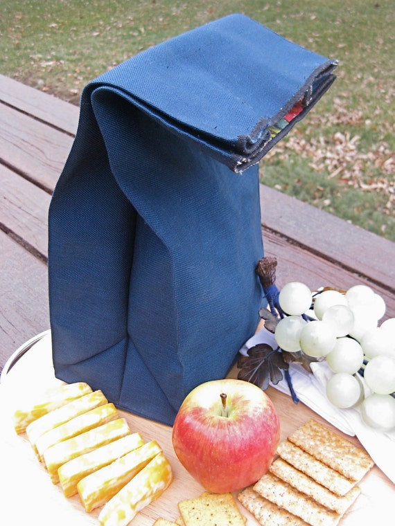 Colorfully-Lined Reusable Canvas Lunch Bag - Handmade by Say Uncle