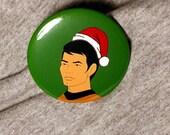 Star Trek Santa Sulu - Button or Magnet or Keychain Bottle Opener