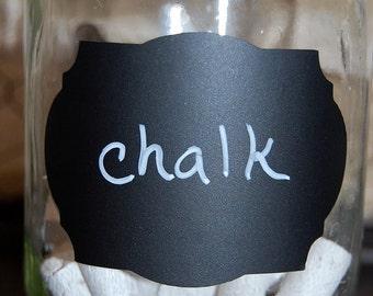 Chalkboard labels - Fancy Oval- Medium size - set of 40