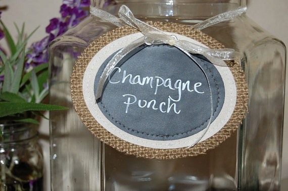 Beverage Sign / Burlap Chalkboard Tags / Labels - Large size - Set of 3- wedding, place card, gift tag, name tag