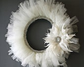 Rhinestone Tulle Wreath - Ivory with Feather Flower Accent - Made to Order