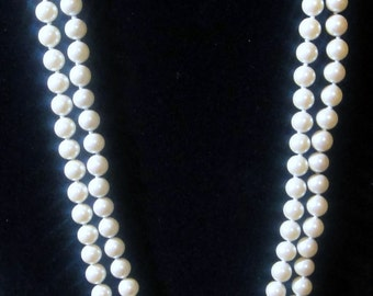 Vintage Double Strand Glass Faux Pearl Necklace 23""