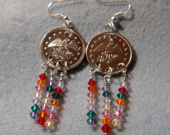 Advertising/Game Token and Crystal Earrings - Girls Just Want to Have Fun