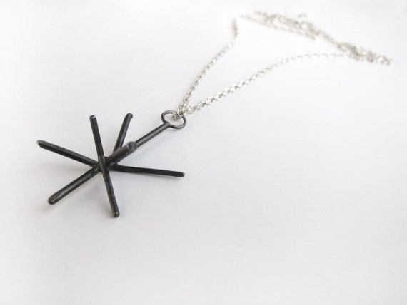 Darken silver necklace - oxidized spike star silver pendant on silver chain, eco-friendly