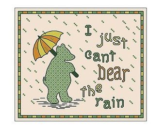 cross stitch chart, I just cant bear the rain, hand embroidery pattern PDF