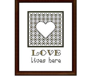 blackwork embroidery pattern, cross stitch pattern, pdf, LOVE LIVES HERE