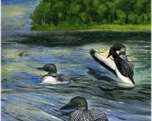 Loon Painting Giclee Print Loons and Muskie in Wood Frame