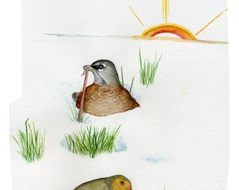 Colored pencil and watercolor art card robins American robin and European robin in spring snow