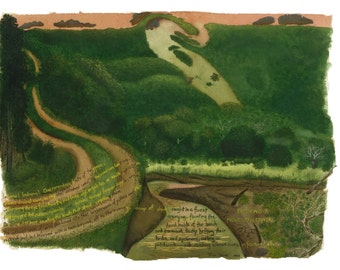 Watercolor Notecard, Entering a Midwestern Capital, Indiana Hill Country Landscape, Blank Note Card