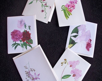 Tropical Orchid Note Cards - Pack of 6 Blank Watercolor Cards