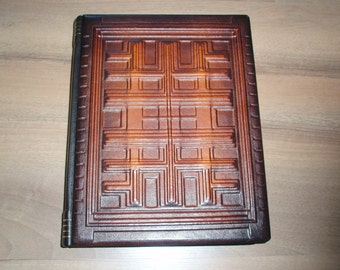 Large Leather Guest Book - Blank Handmade Wedding Gift 1