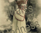 Digital Download 300 DPI  Scan Enchanting Beauty 012 French Postcard Hand Tinted