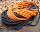 infinity t-shirt scarf, pumpkin and black