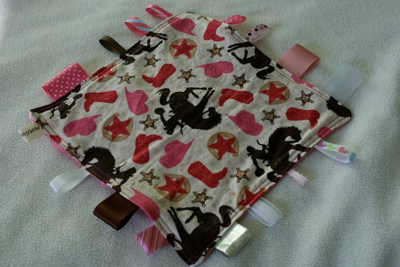 Sale Cowgirls Tag Blanket  with Pink Minky // In Stock, READY TO SHIP