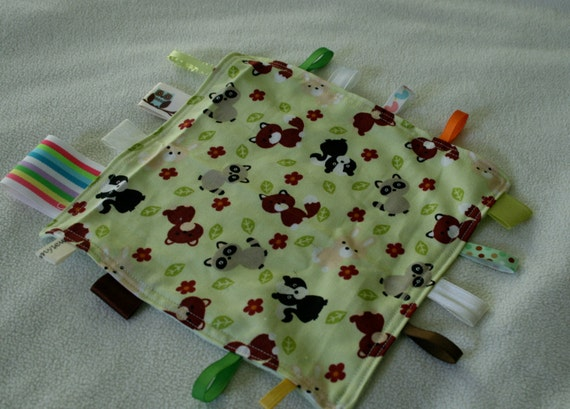 Forest Friends Tag Blanket with brown minky //  In Stock, READY TO SHIP