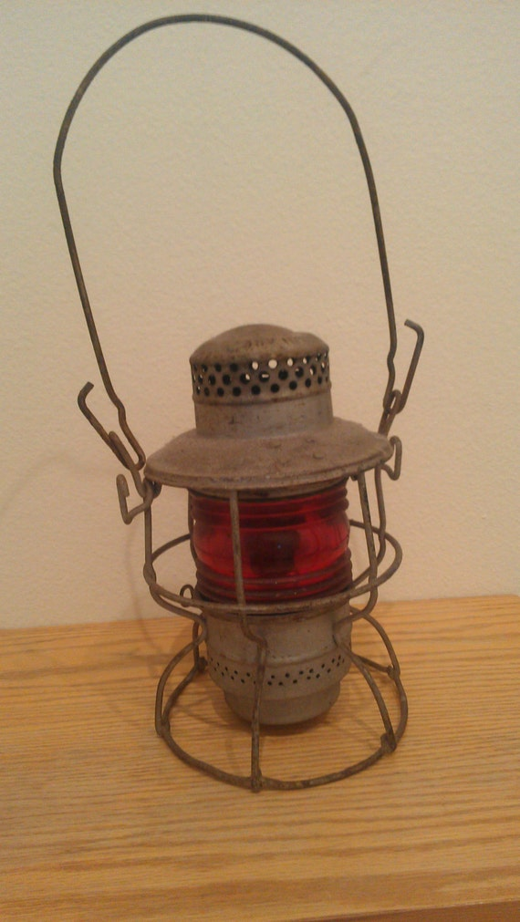 Vintage Adlake Kero railroad lantern from ATLANTIC COAST LINE w/original red glass