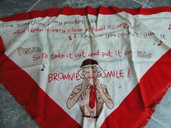 Vintage Brownie Girlscout Rayon Scarf