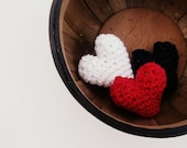 Patriotic Lovin': Set of Three Mini Hand Crochet with 100% All Natural Cotton Stuffed Hearts in Red, White, and Blue