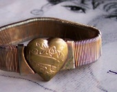 Vintage Victorian Heart Locket 1920's Accordion Bracelet