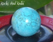 Turquoise Howlite Sphere - Reiki Energized - Connect With Spirit - Aligning Chakras - 1032