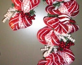 Happy Holidays To You Candy Cane Wreath Red and White