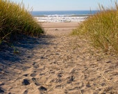 Walk to the Ocean- 8 x 10 Photography- Footprints on the sand, pathway, remembering summer, ocean dreams