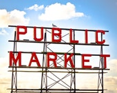 Pike Place Market, Seattle Washington, Vintage Sign, Red