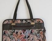 Vintage Tapestry Handbag/Tote Leather Trim