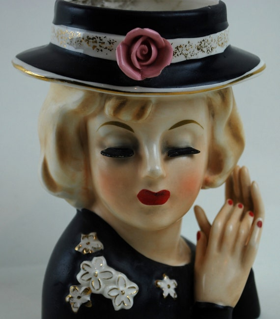 Lady Head Vase With Rare Two Hands Hat Rose And Flowers
