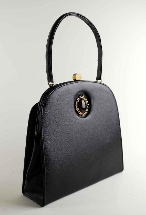 Classic Vintage Black Vinyl Purse with Oval Cabochon Jewel, Deco Hardware, Graceful & Elegant Large Handbag