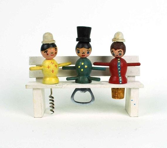 Vintage Bar Tool Set // Figurines on Park Bench Stand