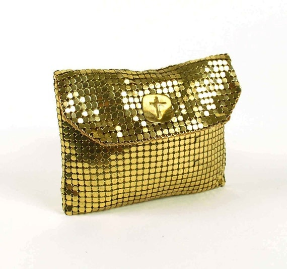 Vintage Gold Mesh Pouch, Whiting and Davis Style Rosary Case, Jewelry Bag with Cross Hardware